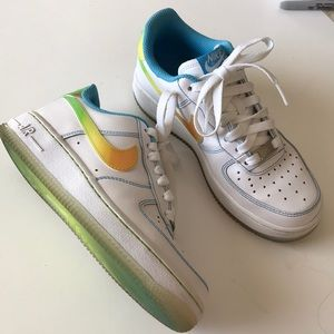 Nike Air Force 1 white+ colorful leather sneakers